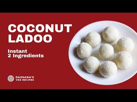 instant coconut ladoo recipe - quick coconut ladoo recipe with desiccated coconut & condensed milk,
