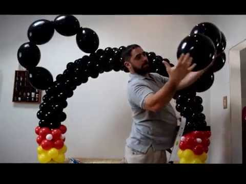 how to make a simple mickey mouse balloon arch decoration with quicklink ears