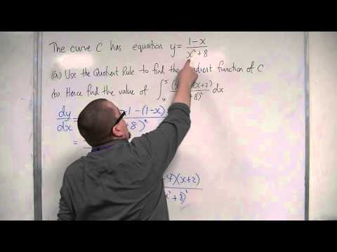 OCR MEI Core 3 4.20 Using the Quotient Rule to solve an Integration problem