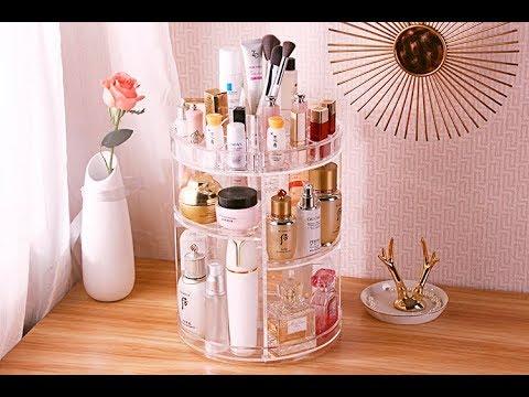 360 Rotating Makeup Organizer, DIY Detachable Spinning Makeup Holder Storage Bag
