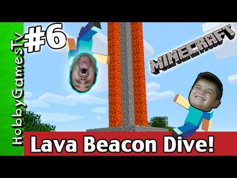 Minecraft LAVA BEACON Dive! How To Tutorial Xbox 360 HobbyGamesTV