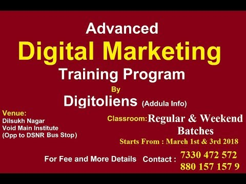 Advanced Digital Marketing Training Course | Starts From March 1st | Classroom Batches