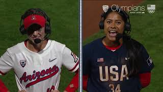 Current Wildcats Pile Into Former Arizona Catcher Dejah Mulipola39s Interview After Team USA