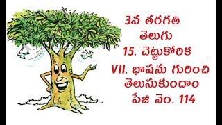 3rd Class, Telugu, 15. Chettu Korika, Bhashanu Gurinchi Thelusukundam, Page No. 114