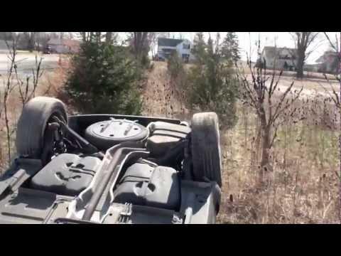 02 mini roll over crash in car view