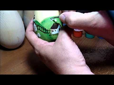 Part 3 of 5 - Primitive Painting Eggs with Country Scenes