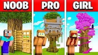 NOOB vs PRO vs GIRL FRIEND MINECRAFT TREE HOUSE BUILD BATTLE! (Building Challenge)