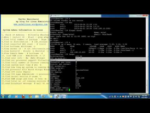 System Information commands in Linux