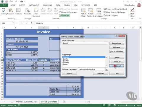 Microsoft Excel 2013 Tutorial 105  Spell Check and AutoCorrect