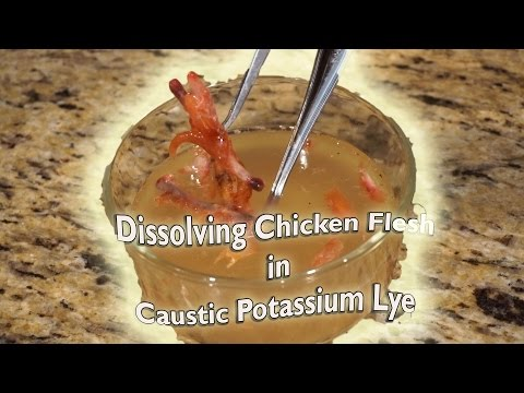 Flesh-Eating Potassium Lye Dissolves Chicken Flesh And Turns To Soap!  Hydraulic Press Action Extra 