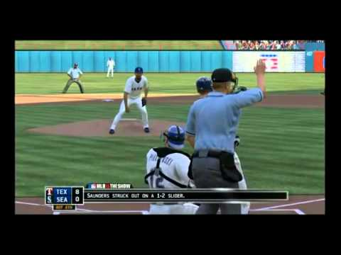mlb13 tex vs sea blowout gameplay