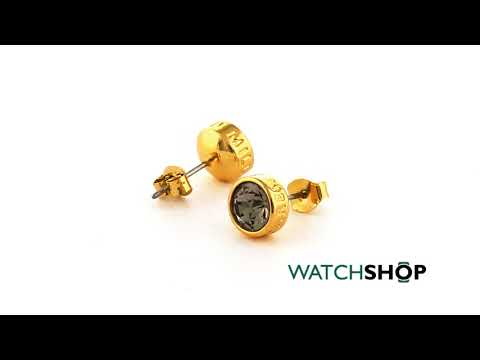 Karen Millen Jewellery Ladies' Gold Plated Logo Stud Earring (KMJ189-31-29))
