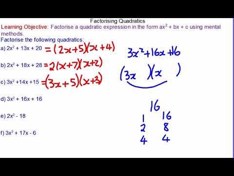 Factorising Quadratics when A is not one