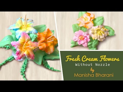 Fresh Cream Icing Flowers Without Nozzles  - How To Make Flowers  - Cake Decorating Tutorial