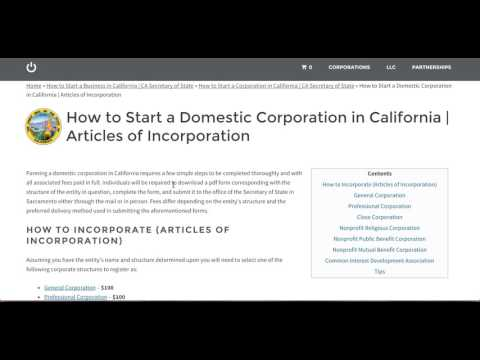 How to Start a Corporation in California | CA Secretary of State
