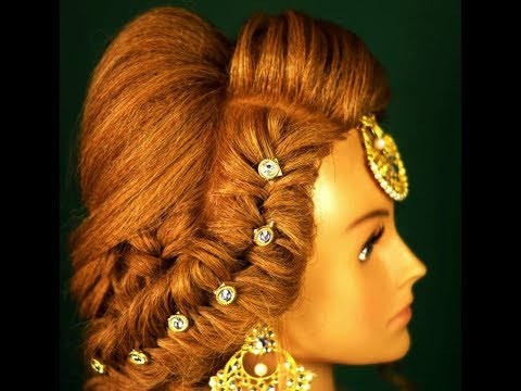 messy khajuri hairstyle for bridal engagement hairstyle (magic techniques by chnadra prakash patel)