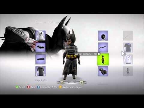 Batman: Arkham City XBox Live Marketplace Avatar Items