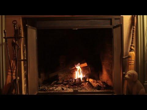 Beautiful Wood Burning Rustic Fireplace - Yule Log video
