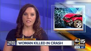 Woman killed in single car crash in Phoenix, man also hurt