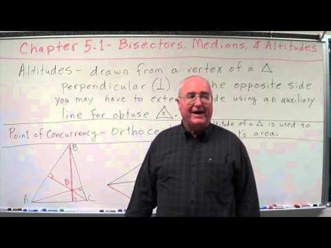 Geometry Chapter 5.1 - Bisectors, Medians, Altitudes - Altitudes