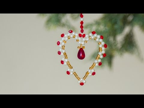 DIY beaded heart Christmas ornaments   Christmas decoration ideas   Beads art