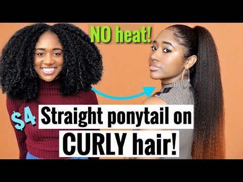 How to: [NO HEAT] EASY Ombré Straight Ponytail on Black Curly Hair!| Protective Style