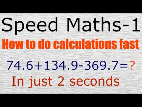 Speed Math techniques for fast calculation,Part-1(HINDI)