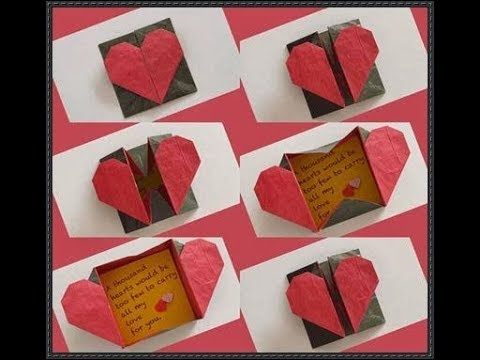 How to make an easy Origami heart box & Envelope paper/heart box origami tutorial🙂
