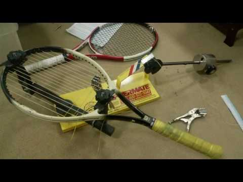 Tennis Racket stringing by a drop-weight Stringing machine