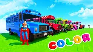 LEARN COLORS SCHOOL BUS & BMX BIKES w/ Superheroes Fun Animation for Children