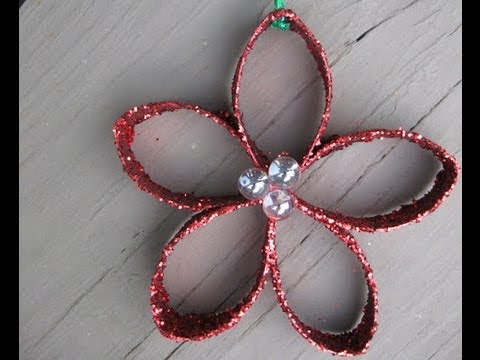Christmas Flower Ornament out of Toilet Paper Roll