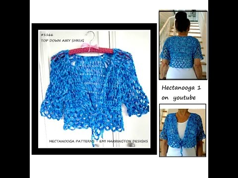 FREE CROCHET PATTERN, Top Down Airy Summer Shrug, 6 yrs to Plus size, XXL, #1166, sweaters & tops