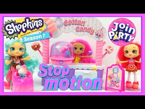 Shopkins Season 7 Cotton Candy Stand Playset STOP MOTION | Donatina, Peppamint, Bubbleisha Shoppies