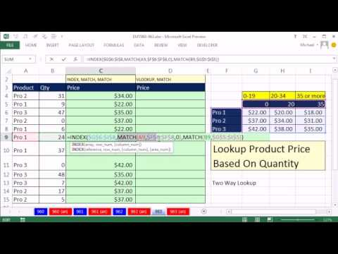 Excel Magic Trick 963: Lookup Product Price Based On Quantity: Two Way Lookup