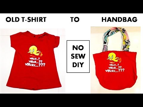 DIY: Convert Old T-Shirt into  a Handbag | Shirin Talwar