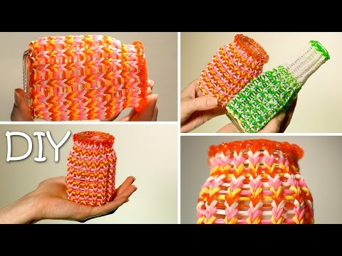DIY Cozy Cover For Cups, Jars and Bottles Out Of Rainbow Loom Bands - Easy Tutorial