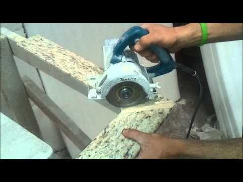How To: Mitre Cut Granite Bullnose Tiles at 45 Degree Angle - Bath and Granite 4 Less