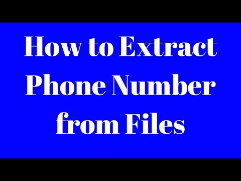 How to Extract Phone number from Files