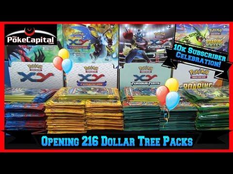 Opening Pokemon Cards 216 Dollar Tree Pokemon Packs 10k Subscriber Special