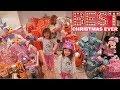 CHRISTMAS MORNING OPENING PRESENTS Mega HAUL with FUN FAMILY THREE Ava Isla Olivia
