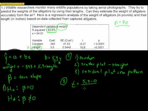 Hypothesis Test for the Slope of a Regression Line