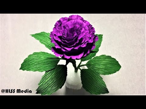 How to make easy origami purple rose paper flower step by step-diy crepe paper flower making easy