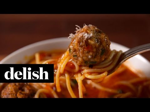 Spaghetti & Meatball Soup | Delish