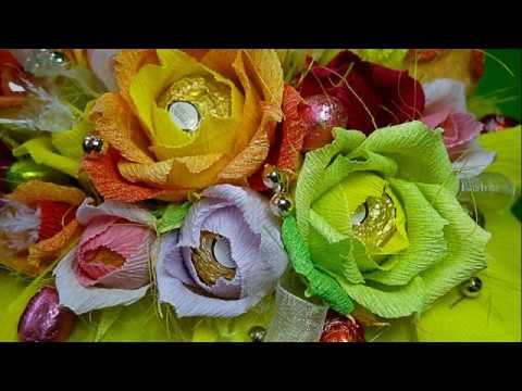 How To Make Crepe Paper Chocolate Flowers Bouquet DIY Easy and Beautiful !