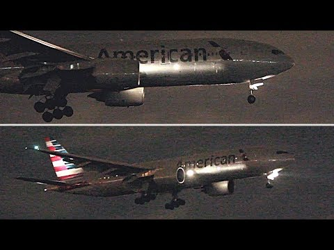 {TrueSound}™ 2x American Airlines Boeing 777-200ER Night Landing at Miami