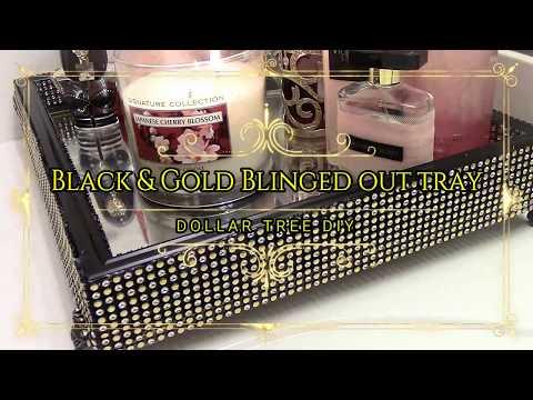 Black & Gold Blinged Out Vanity Tray-Dollar Tree DIY