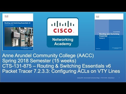 AACC - CTS-131 - CCNA R&S - Spring 2018 - PT 7.2.3.3 Apply Std Num ACL to VTY Line - Week #11
