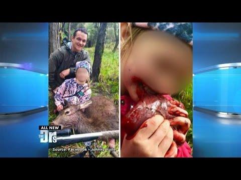 Proud Dad Lets Daughter Bite Deer Heart