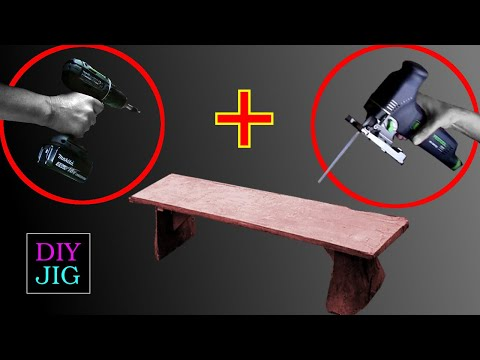 Making a wooden bench only with jigsaw and cordless drill - DIY JIG