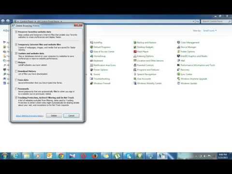 Delete temporary files in Internet Explorer 7